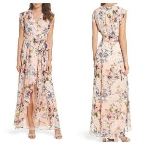 NWT Eliza J 2 Floral Ruffle High/Low Maxi Dress